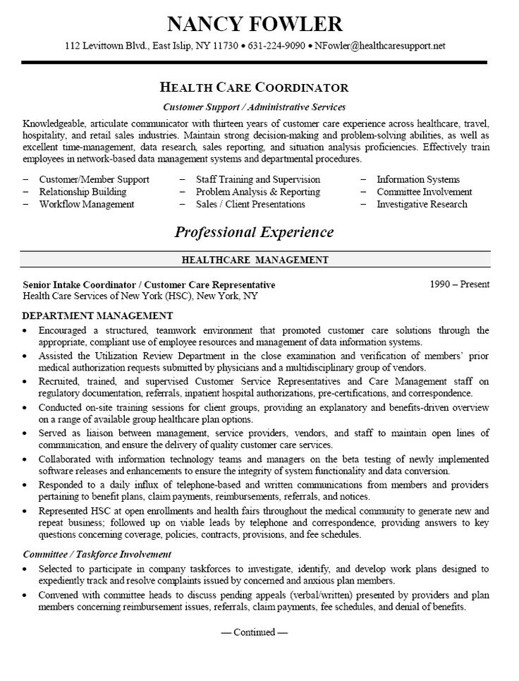 Healthcare Resume Statements
