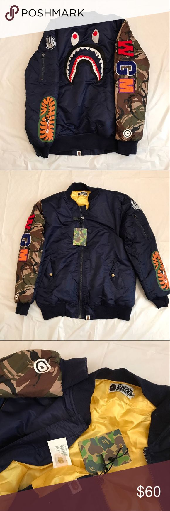 Bape jacket blue men size Brand new come with tag and bag. Size available:M-L EYES:Fit little smaller,recommend order one size bigger. Ship by usps the same busness day if u order before 12:00pm. Jackets & Coats Lightweight & Shirt Jackets
