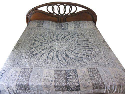 Jamawar Reversible Pashmina Bedspreads Gray Paisley Design Blanket Throw India Bedding King Size by Mogul Interior, http://www.amazon.com/dp/B00EU9AF20/ref=cm_sw_r_pi_dp_oxKhsb1F6VQKY