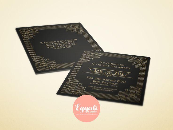 Modern, arany és fekete esküvői meghívó   Black and gold Gastby styled wedding invation card