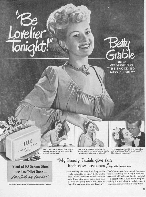 Magazine Ad for Lux Soap Featuring Betty by NoPlaceLikeVintage