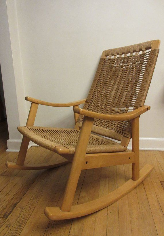 Mid Century Danish Modern Hans Wegner Style Blonde Beech Wood Rope Rocking Chair Rocking Chair Danish Modern Design Attached Seating