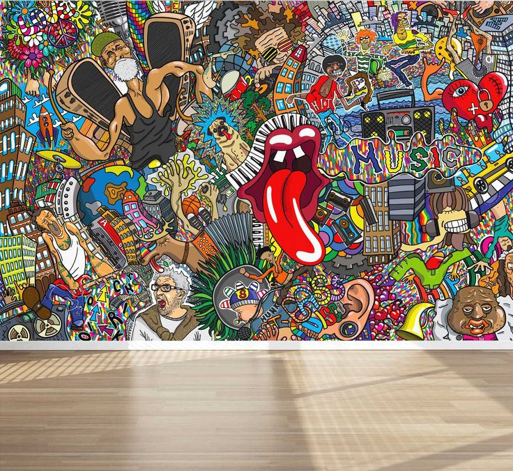 Wall Mural Graffiti Music collage Street Style, Peel and