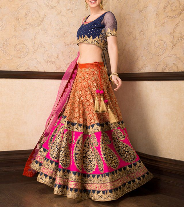 Rust Thread Zari and Sequin Embroidered Lehenga With Top and Dupatta