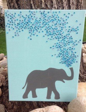 Elephant silhouette with sequins by FunTime324 on Etsy It's made with paint a sequins! How cute!