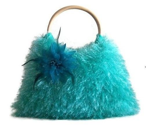 aqua knitted fur JUBBJUBB handbag with blue flower by PinKyJubb,