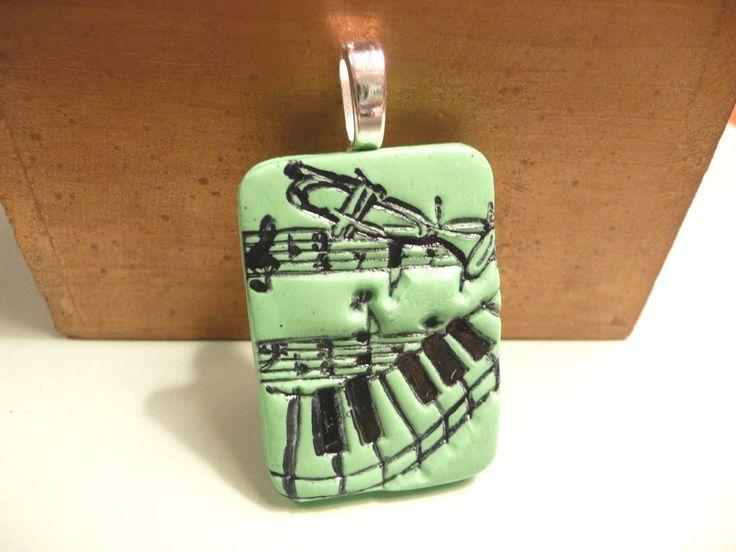 polymer clay jewelry | Music Piano Pendant handmade polymer clay jewelry - green and black