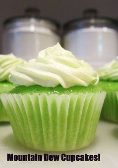 Mt. Dew Cupcakes,~ 1 box lemon cake mix, 3 eggs, 1 1/3 cups of mountain dew, (Just about a full can) 3/4 cup vegetable oil, 1 tsp vanilla,  Mix cake mix, eggs well. Add in your oil to the batter and mix for 2 minutes. Slowly pour in your mountain dew soda and mix for another minute. Add to cupcake liners and bake at 350 degrees F for 13-17 minutes  Frosting: 3 cups Confectioners Sugar 1 stick of salted butter (room temp) 4 tsp. approx of Mountain Dew 1 tsp. of lemon juice