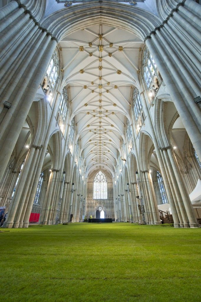 In preparation for the York Minster Rose Dinner, the 14th century York Minster Cathedral has been transformed into a yard of fresh grass. (Not moss but close!)