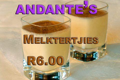 Mmmm Lekker Melktertjies for only R6.00 at Andante's. #Vaal #Vanderbijlpark #lekker