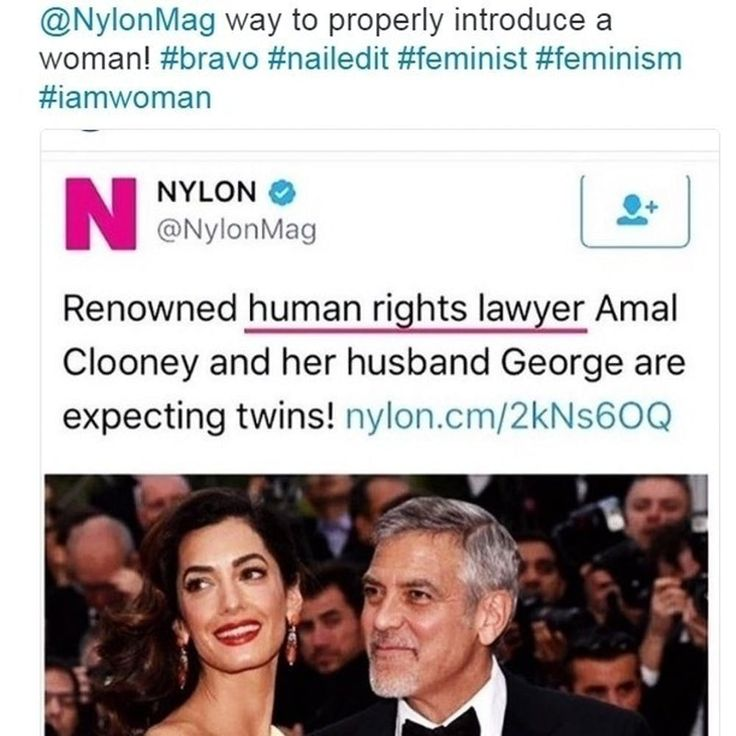 "LOL I love that they reversed what would have been the usual sexist headline (normally it would not include her name, just that she's ""George Clooney's wife"")"