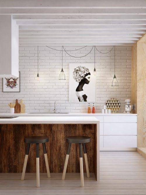 Фотография: Кухня и столовая в стиле Лофт, Кантри, Скандинавский, Декор, Советы, Ремонт на практике, кирпич в интерьере, покраска кирпичной стены, кирпичная стена, кирпичная стена в интерьере, краска для кирпичной стены – фото на InMyRoom.ru