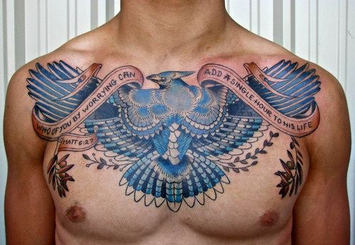 Mens Chest #Tattoo With Colorful Bird And Quote