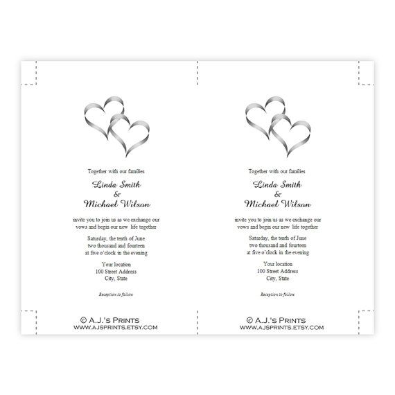 Two hearts in gray wedding invitation for your wedding or special event. The design can be used for birthdays, anniversary parties, bridal showers, etc. by changing the wording to your event information. ***These are DIGITAL download files for instant download after your purchase is
