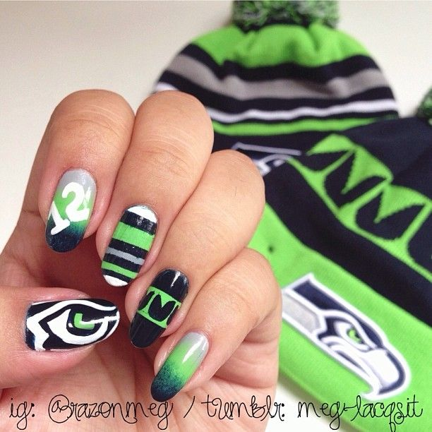 9 best special 1 time nail art images on pinterest make up seattle seahawks by razonmeg nail nails nailart prinsesfo Images