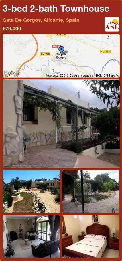 3-bed 2-bath Townhouse in Gata De Gorgos, Alicante, Spain ►€79,000 #PropertyForSaleInSpain