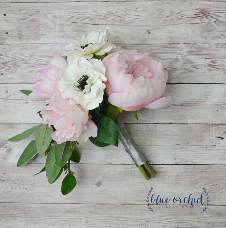 Bridesmaid Bouquet - Peony Bridesmaid Bouquet, Small Peony Bouquet, Anemone, Eucalyptus, Blush Peony, Pink Peony, Silk Bouquet by blueorchidcreations on Etsy