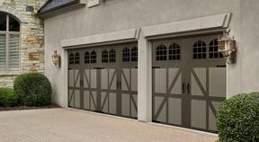 Carriage Style Garage Door from Bartlett Garage Doors. Visit our door designer to custom build yours! www.bartlettdoors.com