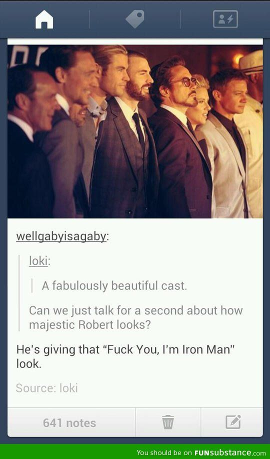 He's like, the shortest cast member but he looks just as tall as the others. Tell me your secret, RDJ.