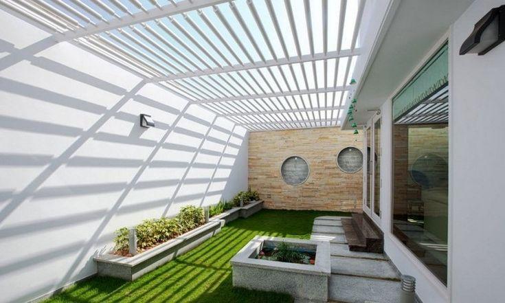 ideas creativas jardines pequeños pergola blanca preciosa ideas