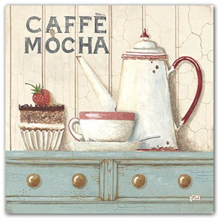 Amazon.com: Caffe Latte~Caffee Mocha by Gordon~Set 2 French Country Coffee 8 x 8 UNFRAMED Art Prints: Posters & Prints