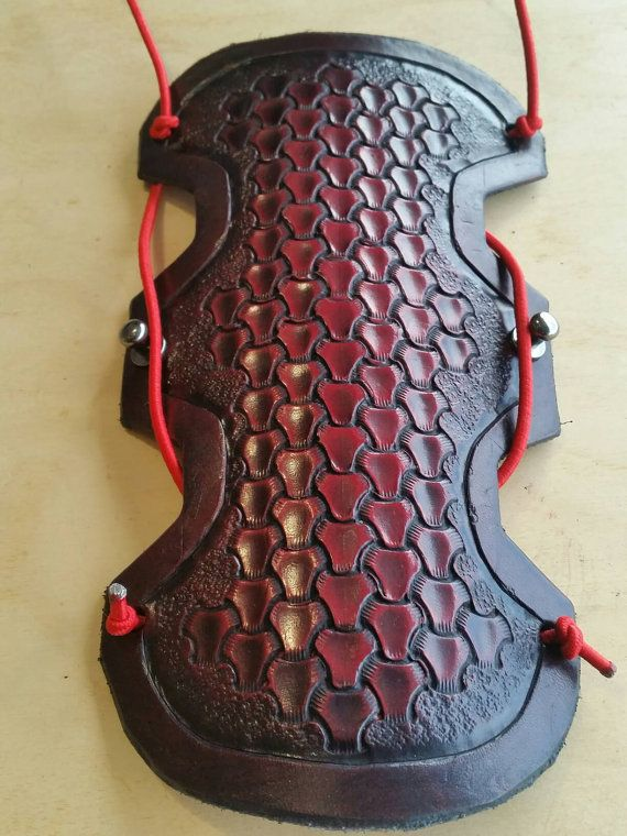 Learher archery arm guard - triweave stamping, tonal red