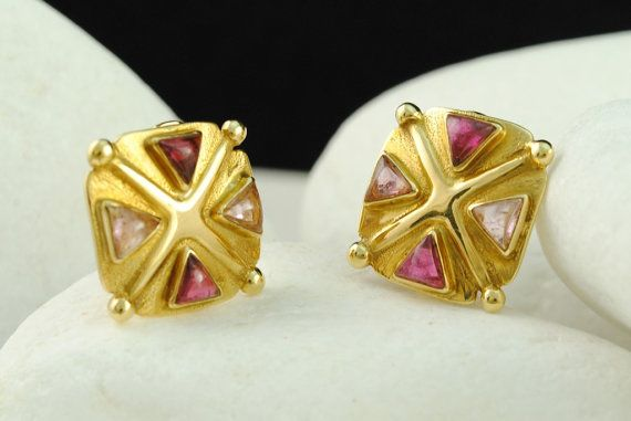 Pink & Light Pink Tourmaline Archaic Clip Earrings in Solid 18K Gold
