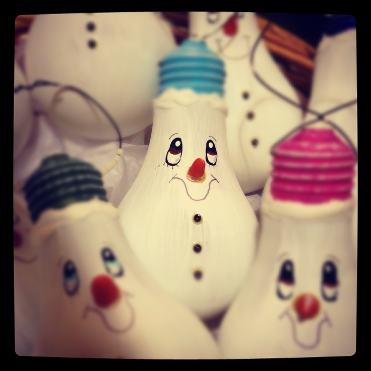 Light bulb ornaments-snowman version
