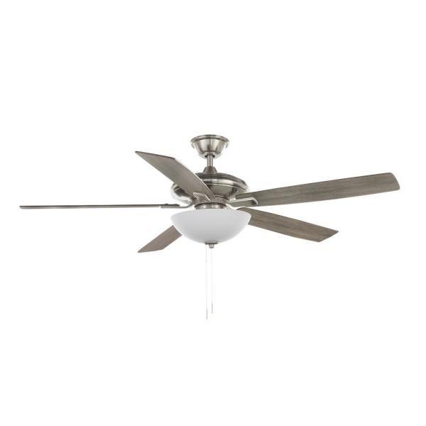 Hampton Bay Abbeywood 60 In Led Brushed Nickel Ceiling Fan With Light Kit And Wifi Remote Works Wi In 2020 Ceiling Fan With Light Brushed Nickel Ceiling Fan Fan Light
