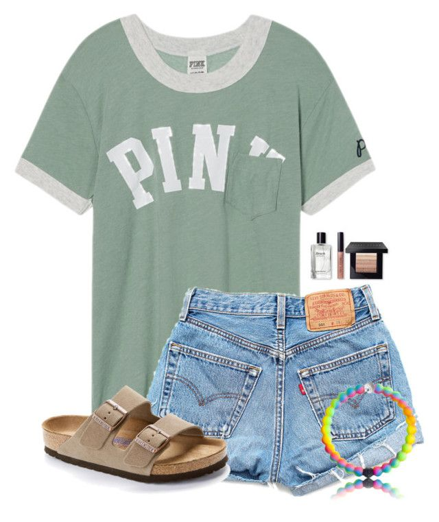 """Going to a baseball game tonight:)"" by victoriaann34 ❤ liked on Polyvore featuring Victoria's Secret, Levi's, Birkenstock and Bobbi Brown Cosmetics"