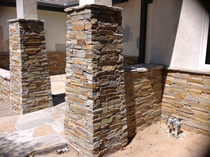 Stone Veneer Columns : Best images about stone walls pillars and columns on