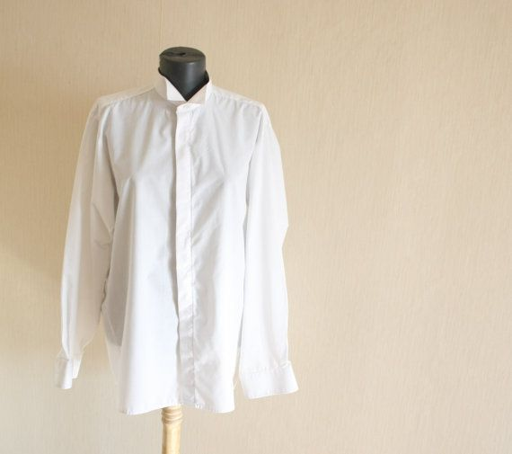 Vintage wedding tuxedo white shirt wing tip Double Two shirt  butterfly collar shirt 90's made in England
