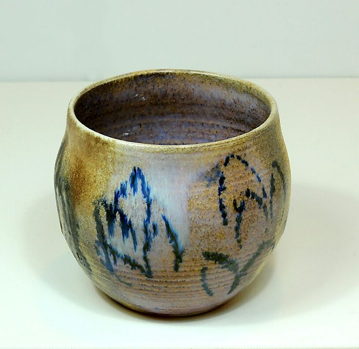 Pirjo Lautiainen, wheel thrown and anagama fired pot, blue chun glaze, 2016
