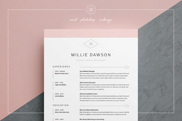 Professional Resume/CV | Cover Letter | instant download | Resume Templates | MS Word | Photoshop | inDesign Millie by Keke Resume Boutique on @creativemarket