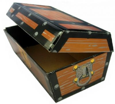 This Cardboard Pirate Treasure Chest makes a great container for loot!!