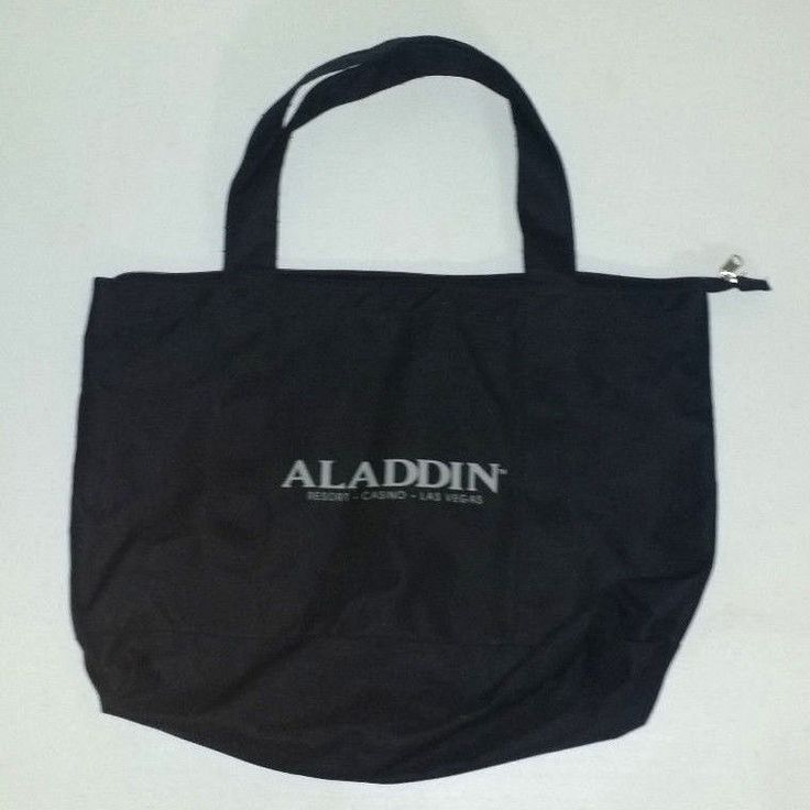 Vintage Aladdin resort casino Las Vegas black zipper tote bag