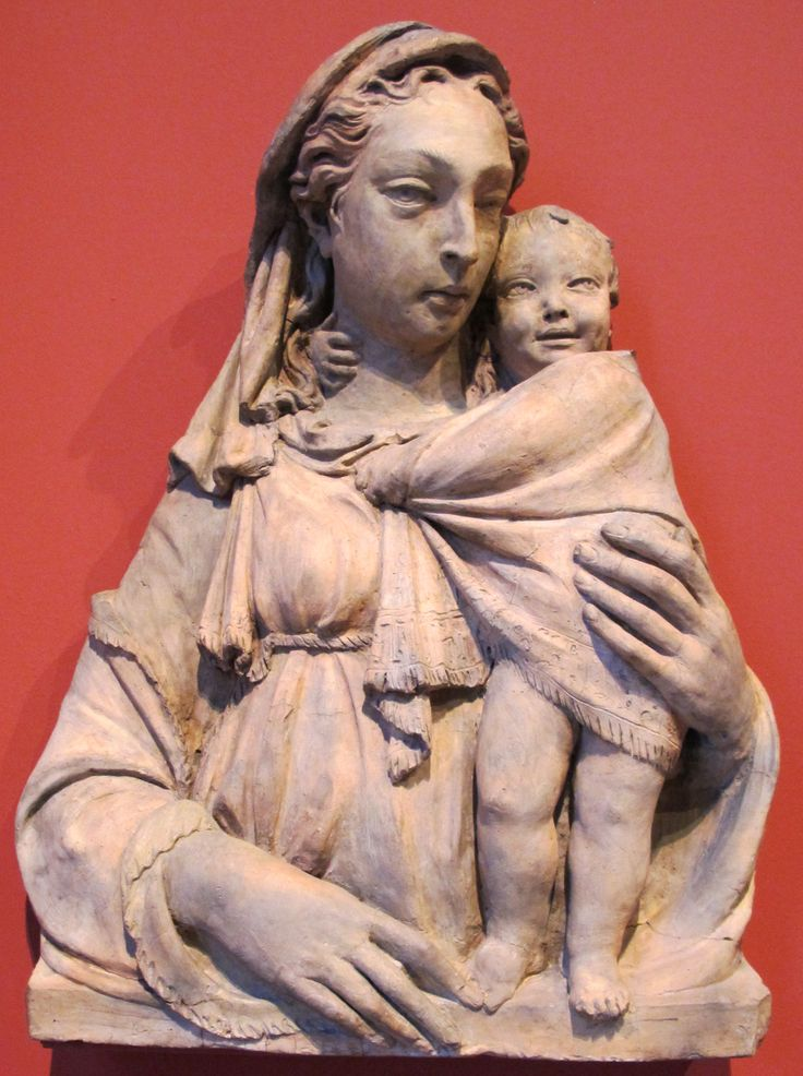 """Donatello, vero nome Donato di Niccolò di Betto Bardi (Firenze 1386 – Firenze  1466), """"Madonna Huldschinsky"""",1410-1430 circa. Altorilievoterracotta90x75 GermaniaBerlinoBode-Museum"""