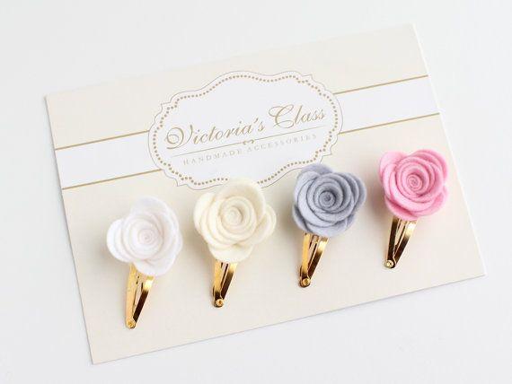 Felt Flower Hair Clip Set Rose Felt Hairclips by VictoriasClass