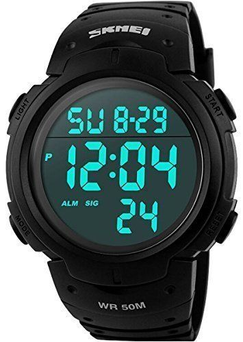 Now available Men's Digital Sports Watch LED Screen Large Face Military Watches and Waterproof Casual Luminous Simple Army Watch - Black