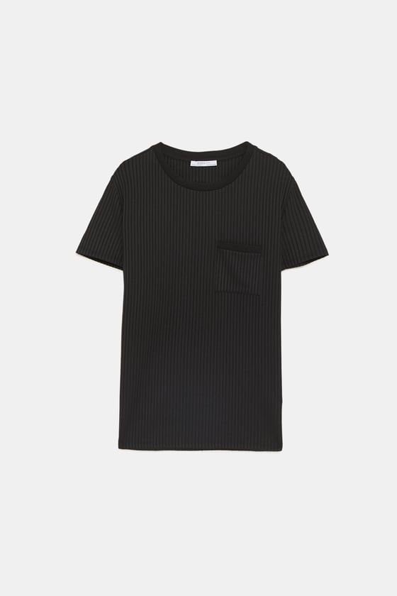 71e3fc0e4d5 Image 8 of RIBBED T-SHIRT WITH POCKET from Zara Zara