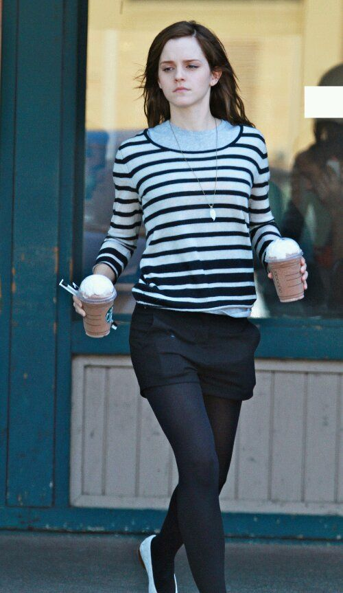 """Emma on a Starbucks run while filming """"The Bling Ring"""" (March 19)"""