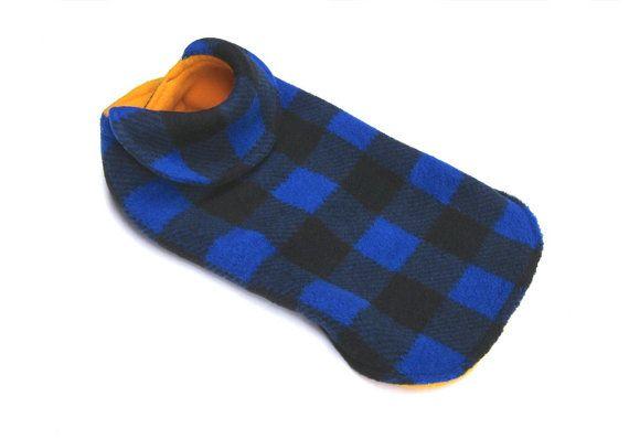 manteau pour chien   carreaux buffalo bleu par creationsanneclaude
