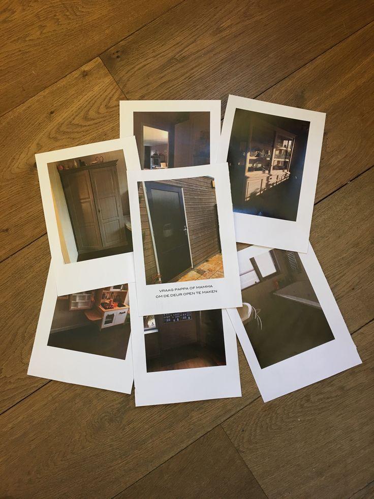 Foto's voor de (foto)speurtocht door het huis om de zak cadeaus van Sinterklaas te vinden. Op elke foto staat een afbeelding van waar je de volgende aanwijzing kunt vinden. Bij ons eindigt de speurtocht in de schuur.
