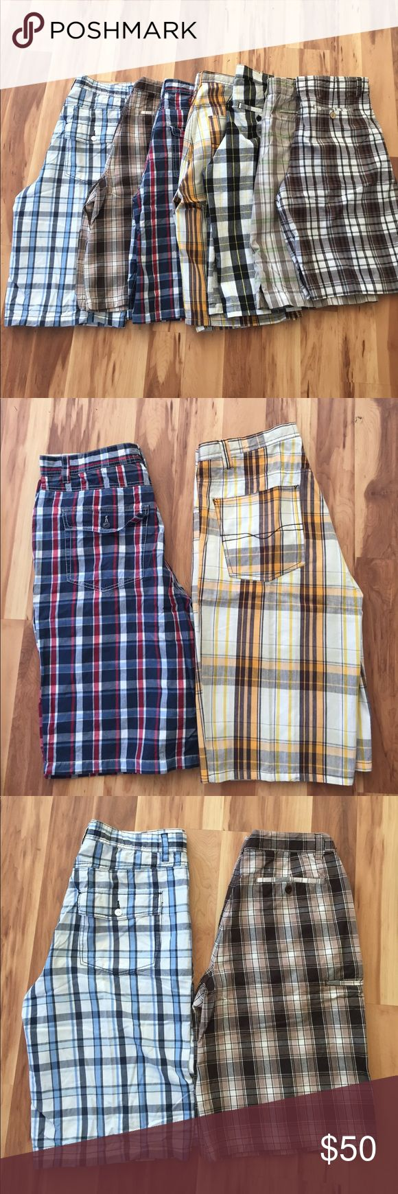 Bundle 7 Men's Plaid Shorts Shorts are in very good condition.3 Footlocker,1 LaGate,1 Code,1 Blues,& 1 no name tag has been removed. Shorts