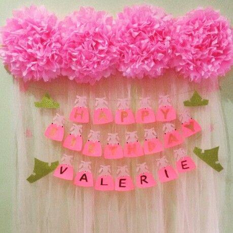 Pink tule pompom backdrop