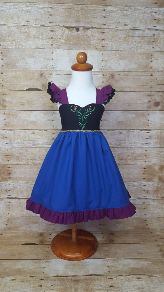 Princess Anna Inspired Girls Toddler Disney Everyday Princess Dress, Sizes 12 months to 10 Girls
