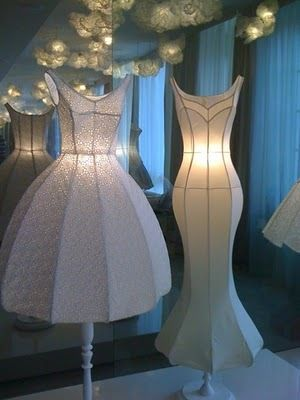 How beautiful would this be . . . a baby dress turned into a lamp with fabric stiffener?  Awesome