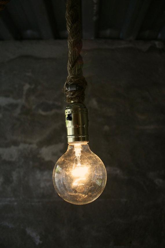 LukeLampCo - Rustic Industrial Rope Hanging Light