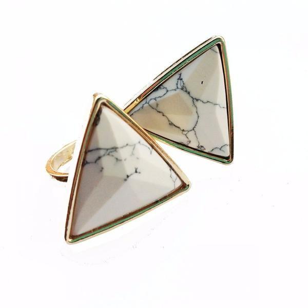 Leigha White Marble Ring
