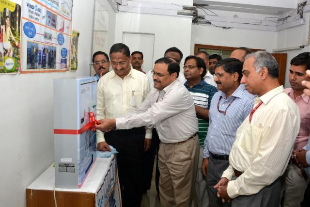 C K Mishra, additional secretary and mission director of the National Health Mission, flanked by other male officials at the inauguration of Vendigo at Nirman Bhawan.